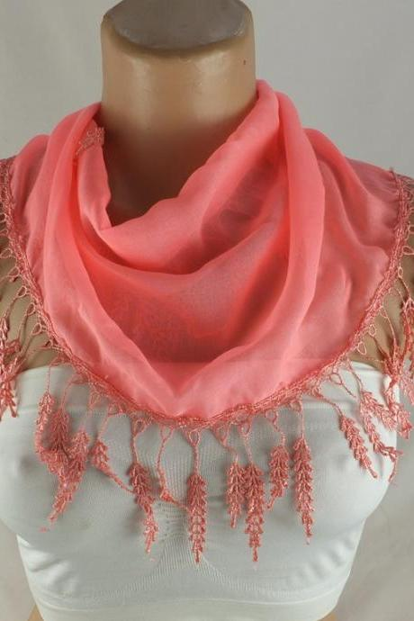 Cotton scarf , lace trim scarf, Pinkish color scarf, Cotton foulard, Neck scarf, cotton foulard, gift ideas for her