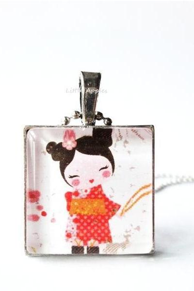 1 inch Japanese Girl Kimono Glass Tile Pendant Square Keychain or Necklace