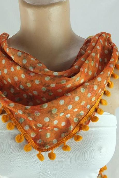 Orange scarf , cotton scarf with pompom trim, polka dots triangle scarf shawl, gift ideas for her