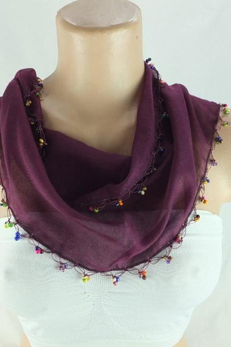 Aubergine color Scarf, cotton scarf,cowl with beaded edges neckwarmer, scarf necklace, foulard,navy blue scarflette,Christmas gift for her