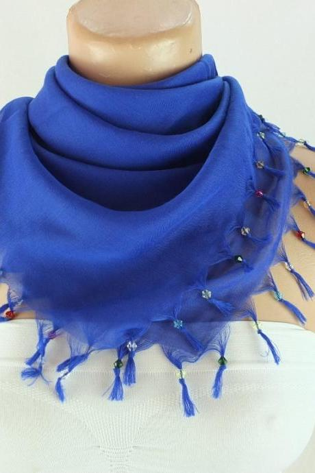Dark blue scarf with cyrstal beads, Square head scarf,traditional Turkish scarf shawl, Fabric shawl, Christmas gift for her,
