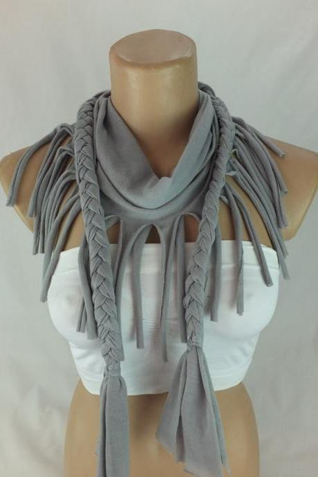 Gray tshirt scarf with braided edges, Fringed scarf, Neckwarmer , Fabric scarf, Womens scarves, Christmas gift ideas for her