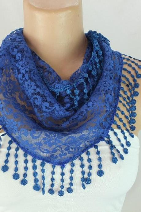 Dark blue lace scarf , cowl with lace trim,summer scarf, neck scarf, foulard,scarflette,bandana, hot pink scarf, gift ideas for her