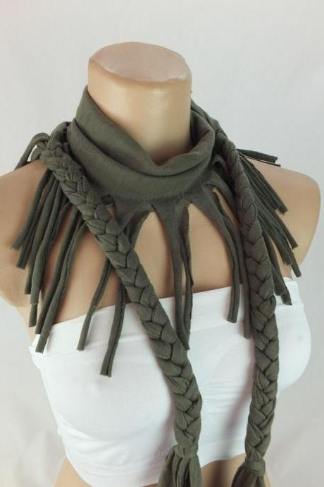 Khaki green tshirt scarf with braided edges, Fringed scarf, Neckwarmer , Fabric scarf, Womens scarves, Christmas gift ideas for her
