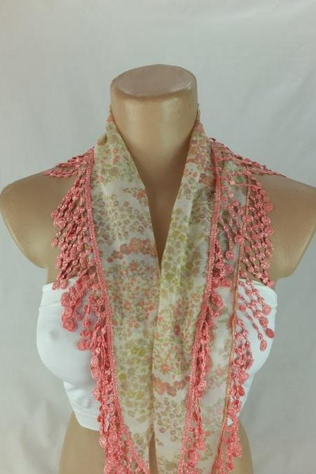 Pinkish floral scarf, cowl with lace trim,neckwarmer, scarf necklace, bridesmate gift, foulard,scarflette,