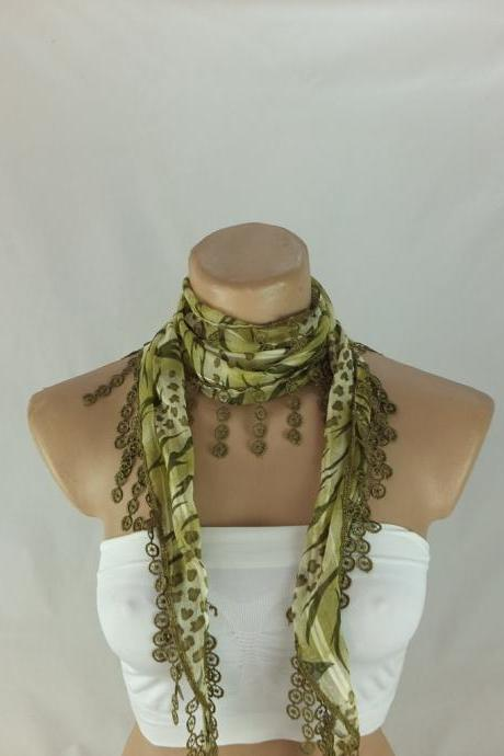 Green chiffon scarf, fashion scarf, cowl with polyester lace trim,summer scarf, neck scarf, green foulard,scarflette,bandana