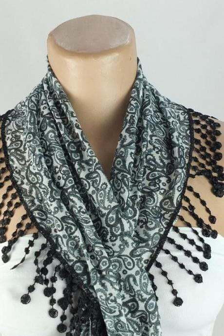 Black paisley scarf, fringed scarf, cotton scarf, cowl with polyester trim,neckwarmer, lace edge scarf necklace, foulard,scarflette,