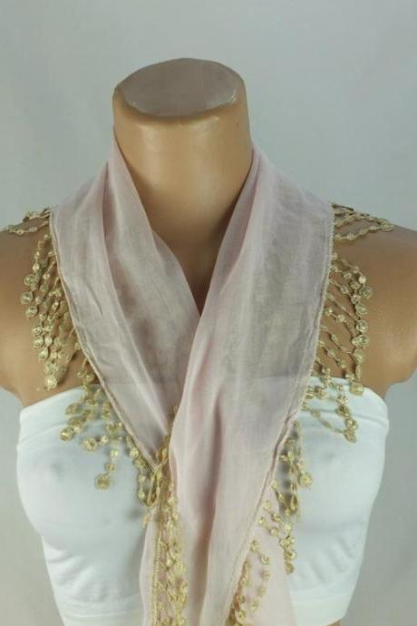 Pale pink scarf, cotton scarf, cowl with polyester trim, Cotton neckwarmer, scarf necklace, womens foulard,scarflette, Christmast gift