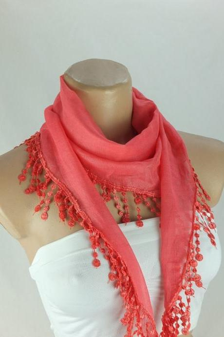 Coral red cotton scarf, cowl with polyester trim,neckwarmer, scarf necklace, foulard,scarflette,