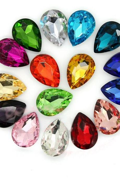 Teardrop loose crystals pointed back 10 pcs 13x18mm