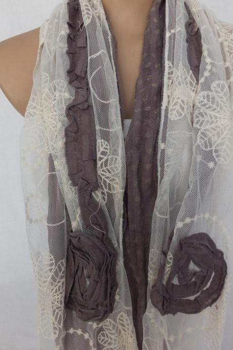 Gray rose scarf, Embroidery tulle and cotton scarf, shabby chic scarf, womans fashion scarf, long scarf shawl, gift for her