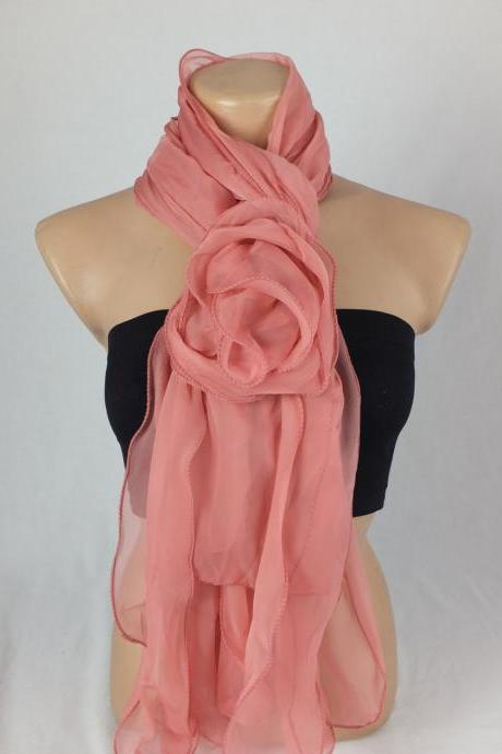 Salmon scarf Shawl ,Pinky 3d rose scarf shawl, ruffled woman scarf, Christmas gift, gift for her