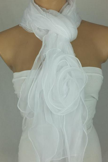 White bridal scarf,3d rose scarf shawl, silk-chiffon blend scarf, ruffled woman scarf, wedding scarf, Christmas gift, gift for her