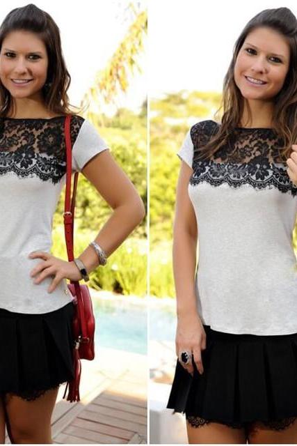 Color lace short-sleeved round neck white shirt ZG0106D
