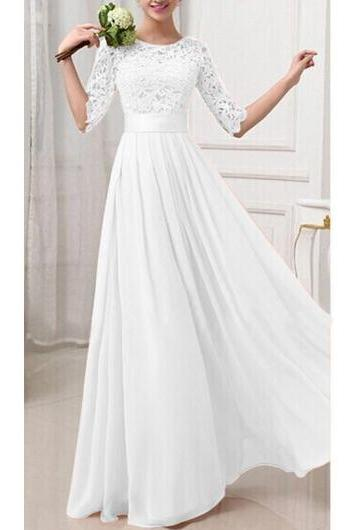 Charming Pierced Sleeve Zipper Closure Maxi Dress - White