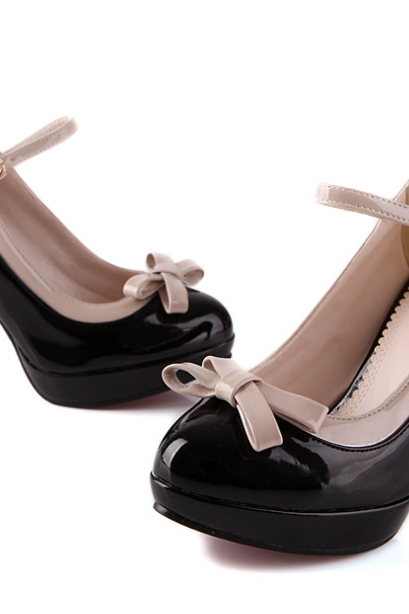 Cute Black Bow Embellished Wedge Shoes