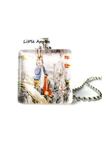Woodlands Animals Peter Rabbit in forest Glass Tile Square Pendant