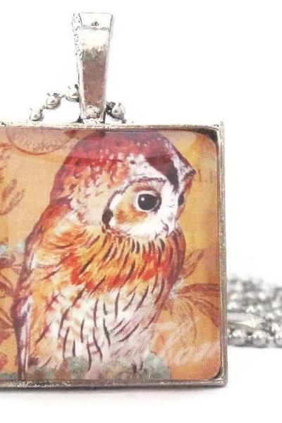 1 inch Brown Owl Print Square Glass Tile Pendant Woodland Creature Keychain