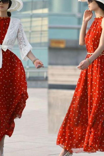 FREE SHIPPING Red Polka Tops Red Maxi Long Dress Printed Polka Dots Dresses