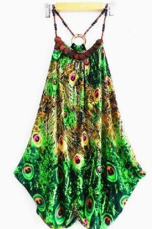 Green Blouse GreenTops Wooden Necklace Printed Peacock Loose Long Tops