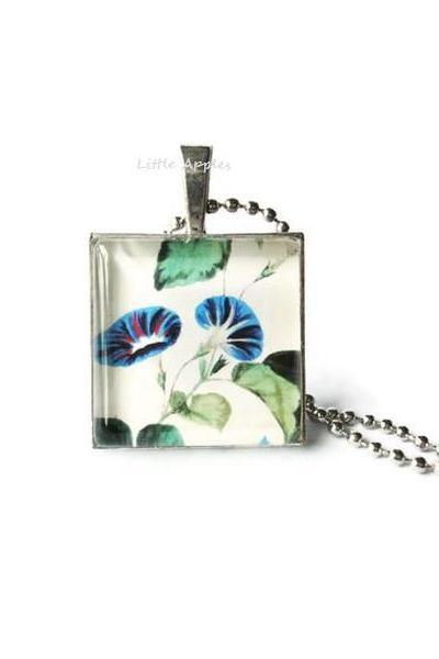 Antique Flower Blue Morning Glory Glass Silver Tray Necklace Handmade Keychain