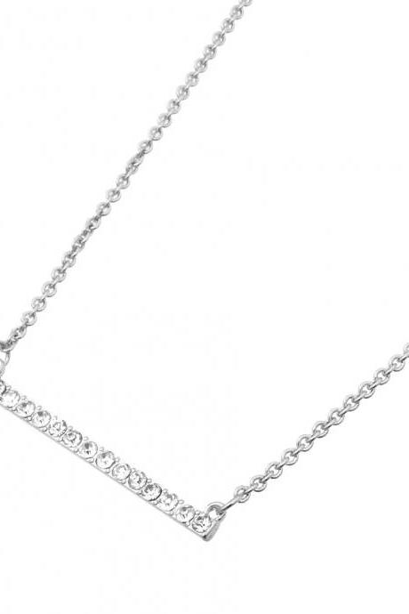 Silver Bar Necklace, Delicate Metal Bar Pendant Necklace Set With Clear Crystal Stones