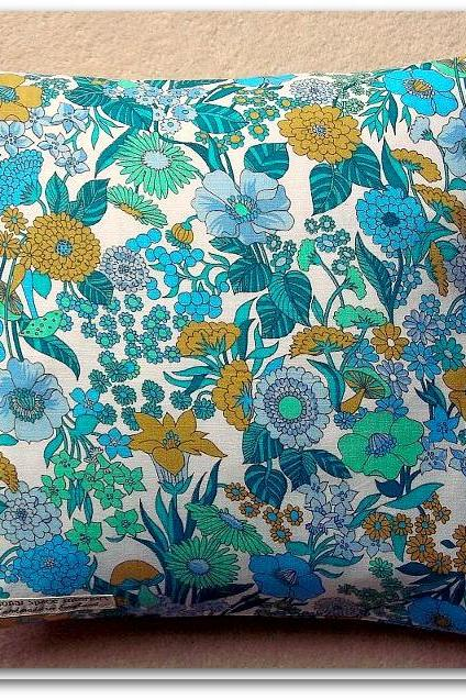 Vintage 1970s turquoise cotton cushion cover with zip fastening 35cm