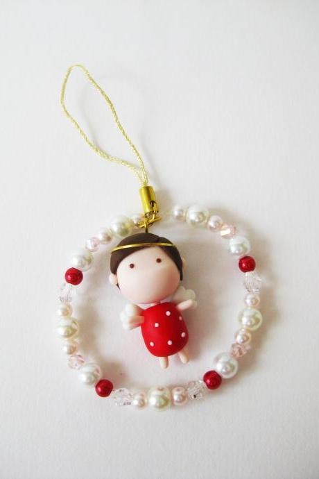 Mantou Angel Keychain Clay ( Red )