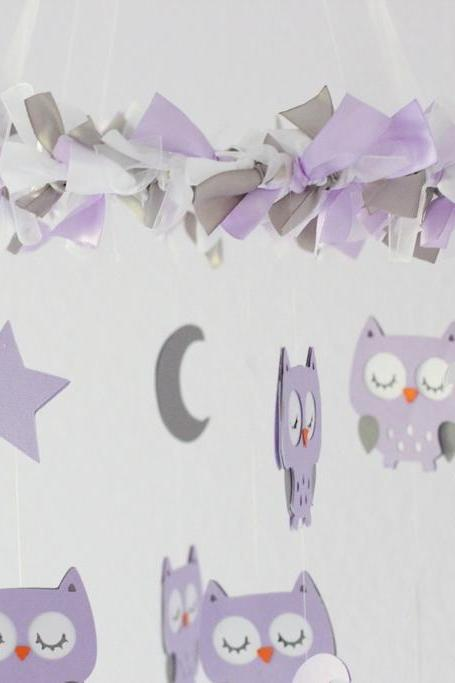 SMALL Owl Nursery Mobile in Lavender, Gray & White