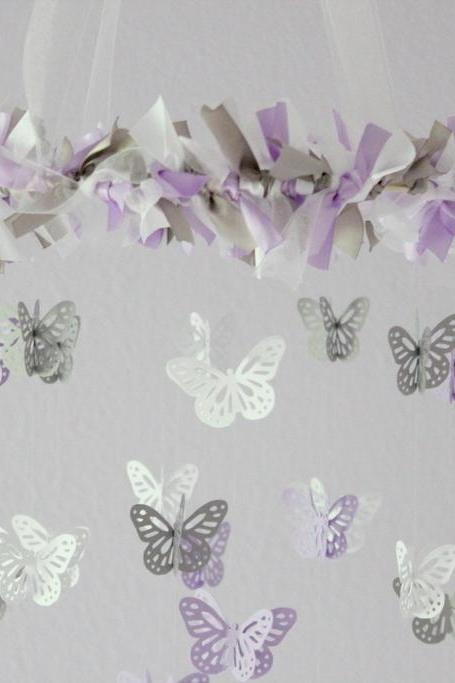 SMALL Butterfly Nursery Mobile in Lavender, Gray & White