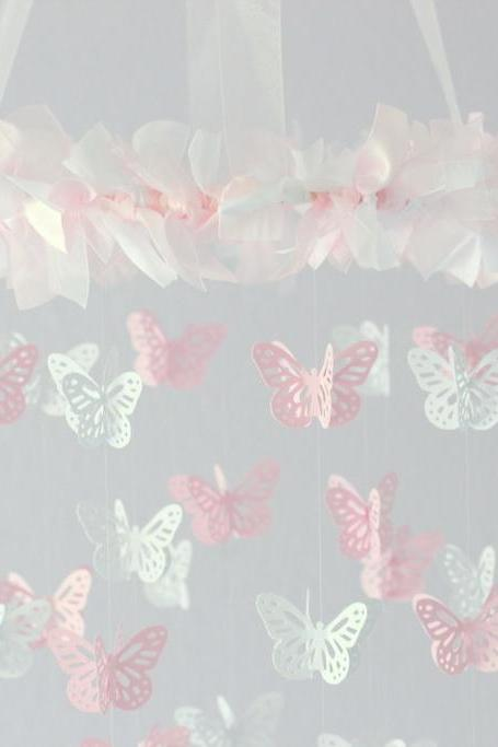 SMALL Butterfly Nursery Mobile in Light Pink & White