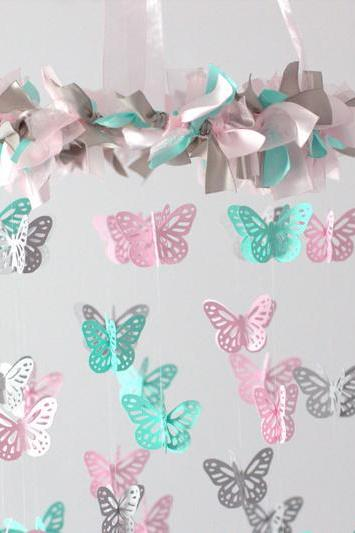 SMALL Butterfly Nursery Mobile in Light Pink, Aqua & Gray