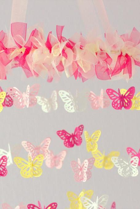 SMALL Butterfly Nursery Mobile in Light Pink, Hot Pink, Yellow & White