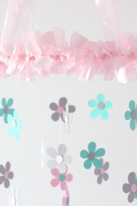 SMALL Daisy Nursery Mobile in Light Pink, Aqua & Gray