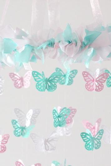 SMALL Butterfly Nursery Mobile in Light Pink, Aqua & White