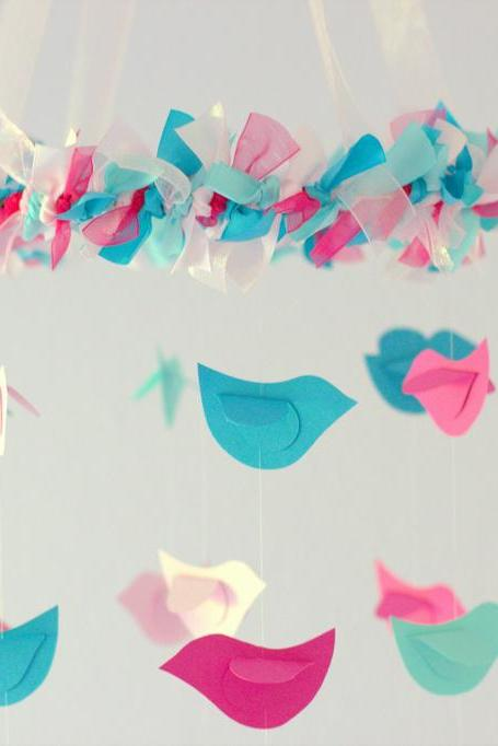 SMALL Bird Nursery Mobile in Hot Pink, Light Pink, Turquoise & Aqua