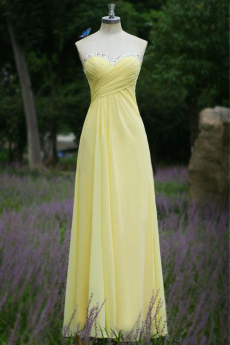 lemon Long Chiffon prom dress,Fashion Long Prom Dress,Long Backless Sexy party Dress, mother of the bride dress