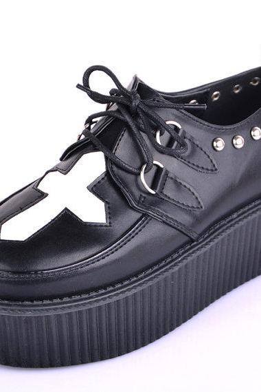 2014 Fashion Handmade Cross Pattern Leather Lady's Lace Up Flat Double Platform Sexy Women's Goth Creepers Casual Shoes Loafers Sneakers