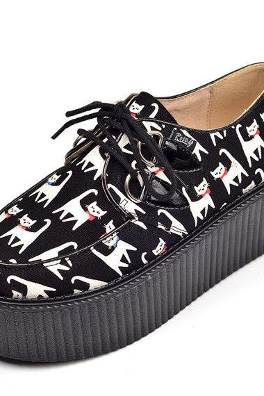 Women's Lovely cat Pattern Suede Cartoon style Lace Up Flat Platform Goth Creepers Punk Casual Shoes Loafers
