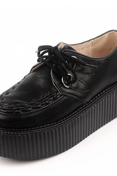 Women's Fashion Black Lace UP Flat Leather Platform Sexy Oxfords Goth Creepers Punk Shoes Creeper shoes Pumps Loafers