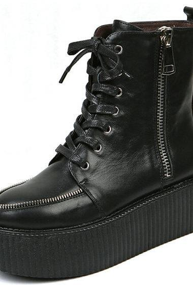 Leather Ankle Boots Sexy High Top 2014 Women's Rock Style Lace Up Side Zipper Flat PlatForm Women's Goth Creepers Shoes Punk Pumps Black