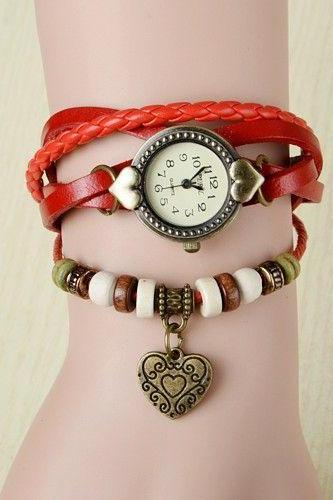 Wrap love heart pendant teenage orange casual girl watch