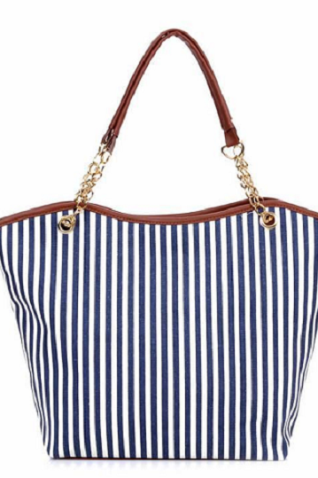 Stripes design pattern canvas woman handbag