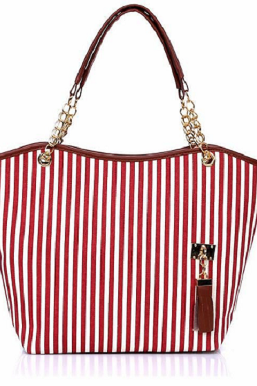 Stripes design pattern canvas red woman handbag