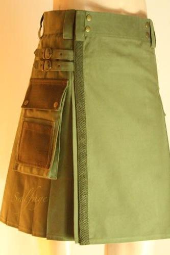 NETTED Beautiful Olive Green UTILITY KILT 50% Off