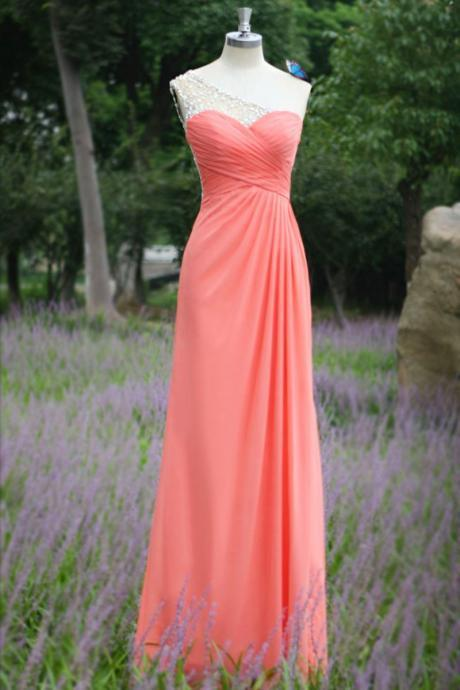 Coral One-Shoulder Sweetheart Ruched Long Chiffon Dress Featuring Open Back Illusion - Prom Dress, Bridesmaid Dress, Evening Dress