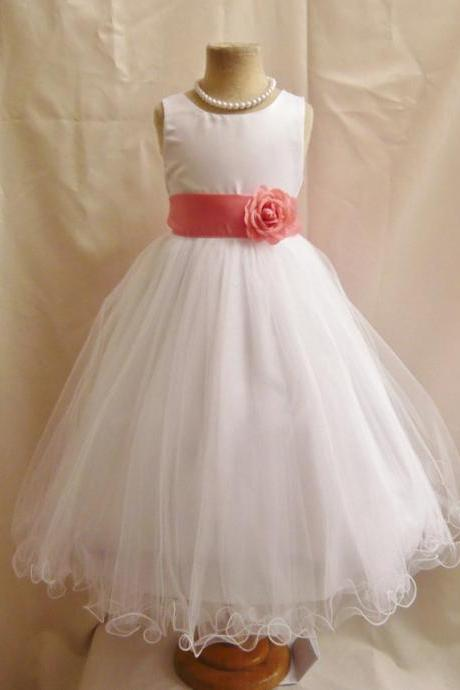 Ulass Ivory LaceFlower Girl Dresses - WHITE with Guava or Coral (FD0FL) - Wedding Easter Junior Bridesmaid - For Children Toddler Kids Teen Girls