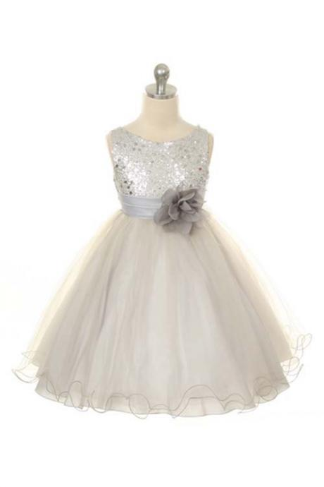 Ulass Flower Girl Dress Silver Sequin Dress, Special Occasion dress, Wedding Dress Size