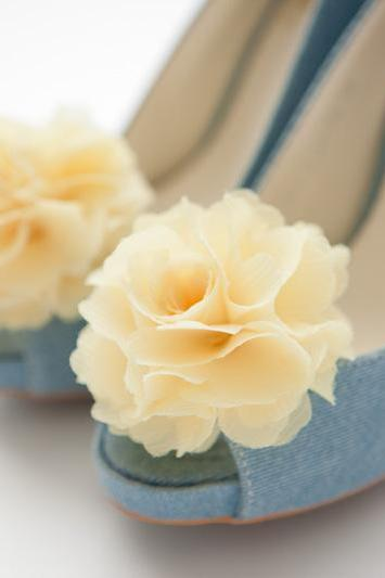 1 Pair(Set of 2)-Light Yellow-Chiffon flower shoe clips for bridal wedding/Choose your color