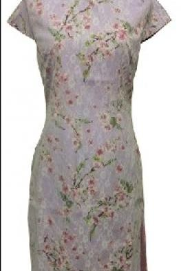 Jasmine Oriental Floral Cheong Sum - Lilac Ground with Pink/White Floral overlay with White Lace